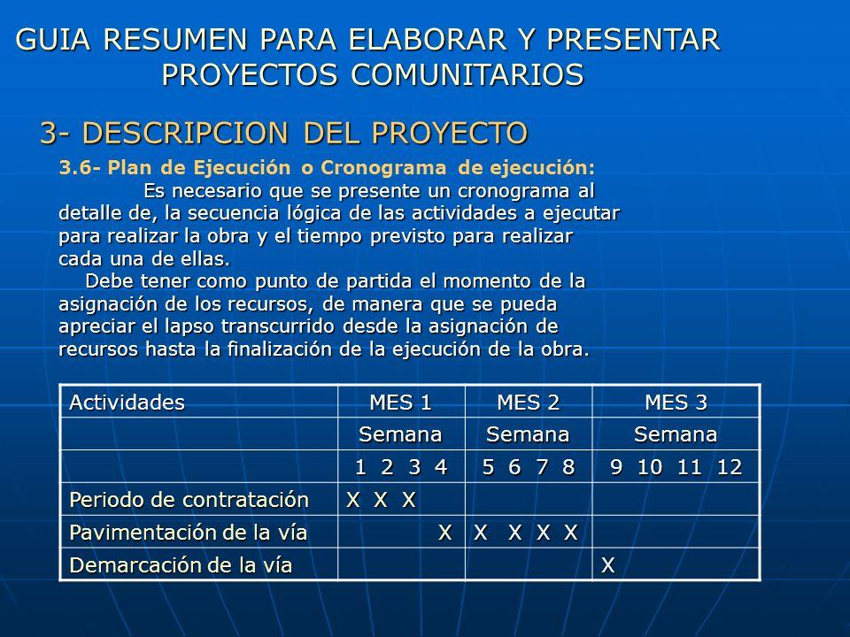 Actividades MES 1 MES 2 MES 3 SemanaSemanaSemana 1 2 3 4 5 6 7 8 9 10 11 12 Periodo de contratación X X X Pavimentación de la vía X X X X X Demarcació