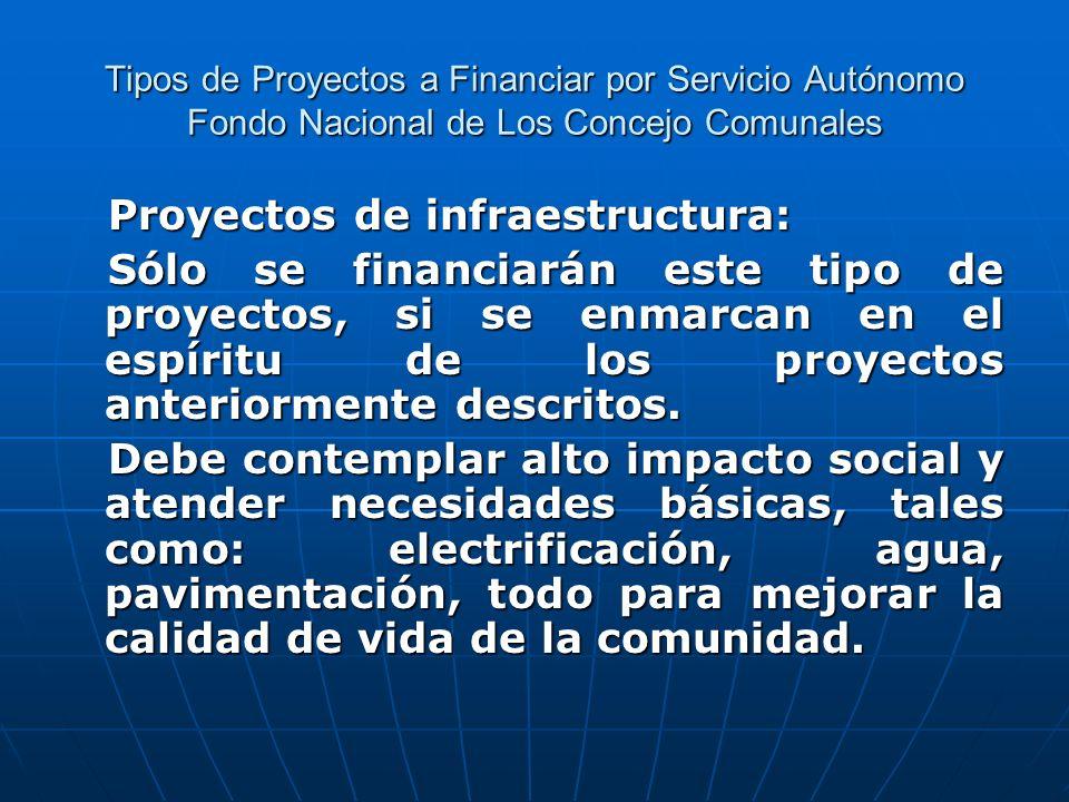 Tipos de Proyectos a Financiar por Servicio Autónomo Fondo Nacional de Los Concejo Comunales Proyectos de infraestructura: Proyectos de infraestructur