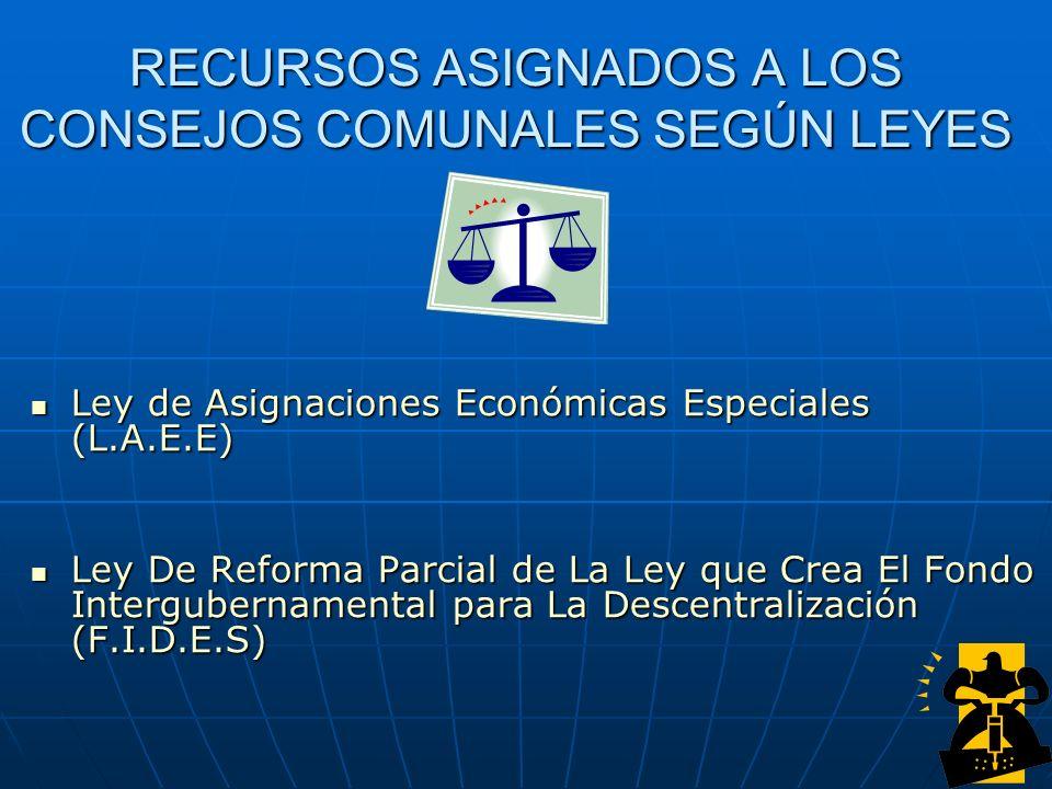 RECURSOS ASIGNADOS A LOS CONSEJOS COMUNALES SEGÚN LEYES Ley de Asignaciones Económicas Especiales (L.A.E.E) Ley de Asignaciones Económicas Especiales
