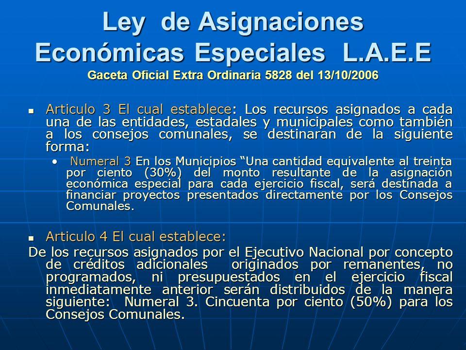 Ley de Asignaciones Económicas Especiales L.A.E.E Gaceta Oficial Extra Ordinaria 5828 del 13/10/2006 Articulo 3 El cual establece: Los recursos asigna