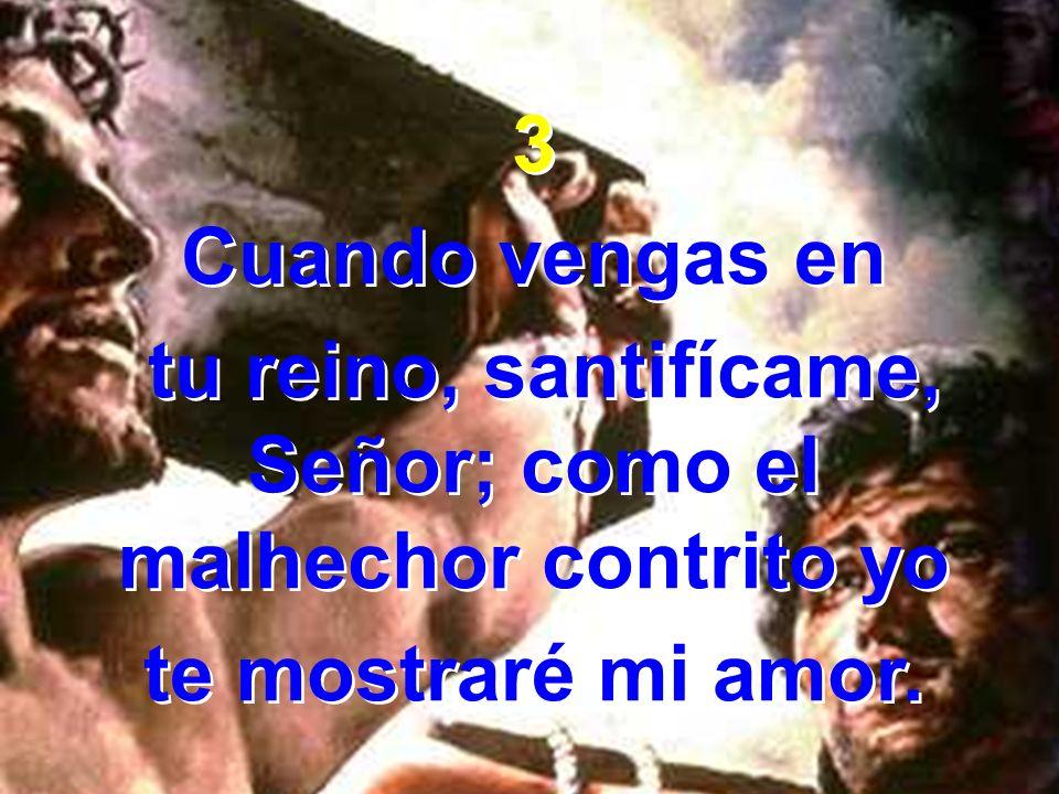 3 Cuando vengas en tu reino, santifícame, Señor; como el malhechor contrito yo te mostraré mi amor. 3 Cuando vengas en tu reino, santifícame, Señor; c