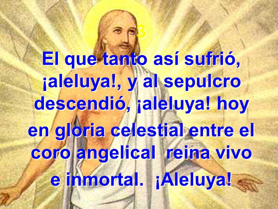3 El que tanto así sufrió, ¡aleluya!, y al sepulcro descendió, ¡aleluya! hoy en gloria celestial entre el coro angelical reina vivo e inmortal. ¡Alelu