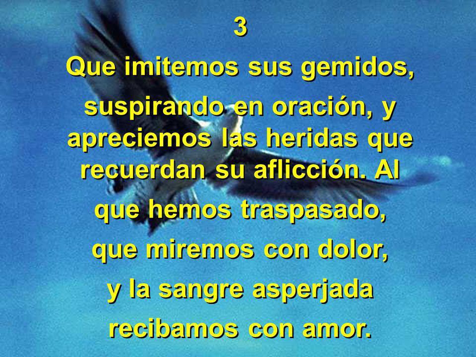 3 Que imitemos sus gemidos, suspirando en oración, y apreciemos las heridas que recuerdan su aflicción.