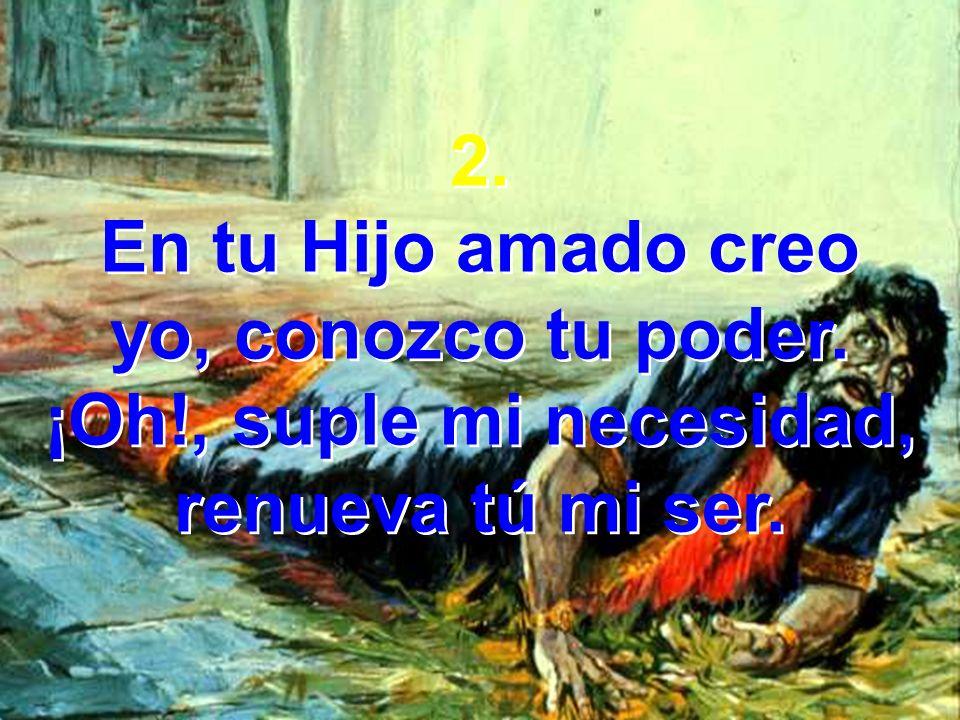 2.En tu Hijo amado creo yo, conozco tu poder. ¡Oh!, suple mi necesidad, renueva tú mi ser.