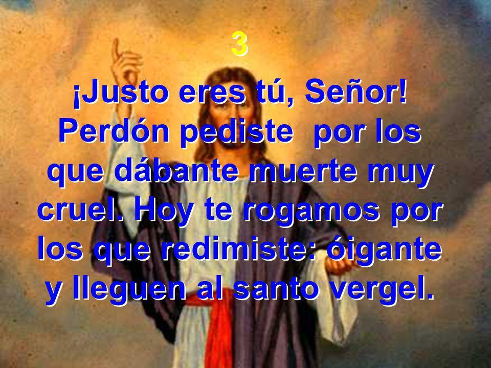 3 ¡Justo eres tú, Señor! Perdón pediste por los que dábante muerte muy cruel. Hoy te rogamos por los que redimiste: óigante y lleguen al santo vergel.