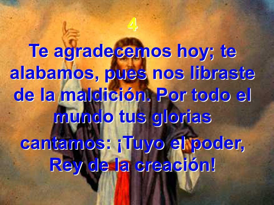 4 Te agradecemos hoy; te alabamos, pues nos libraste de la maldición. Por todo el mundo tus glorias cantamos: ¡Tuyo el poder, Rey de la creación! 4 Te
