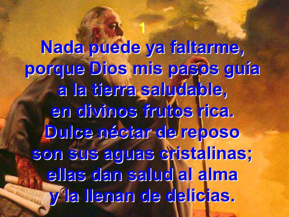 2 Por la senda me conduce de su ley, con mano pía por amor a su gran nombre, fuente viva de justicia.