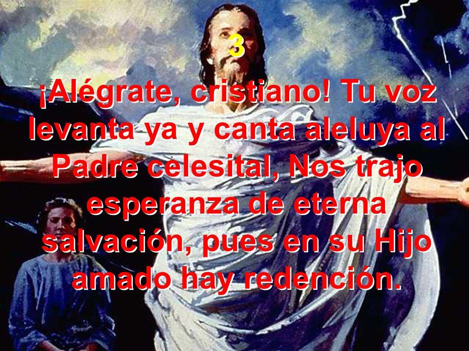 3 ¡Alégrate, cristiano! Tu voz levanta ya y canta aleluya al Padre celesital, Nos trajo esperanza de eterna salvación, pues en su Hijo amado hay reden