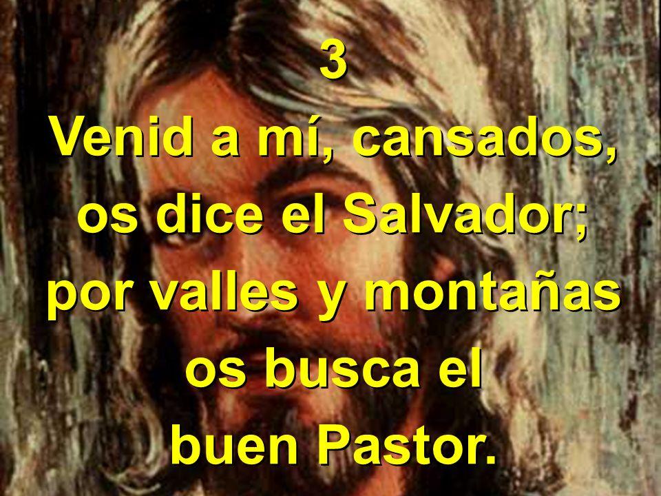 3 Venid a mí, cansados, os dice el Salvador; por valles y montañas os busca el buen Pastor. 3 Venid a mí, cansados, os dice el Salvador; por valles y