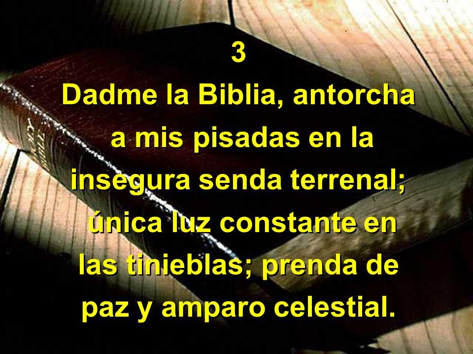 3 Dadme la Biblia, antorcha a mis pisadas en la insegura senda terrenal; única luz constante en las tinieblas; prenda de paz y amparo celestial. 3 Dad