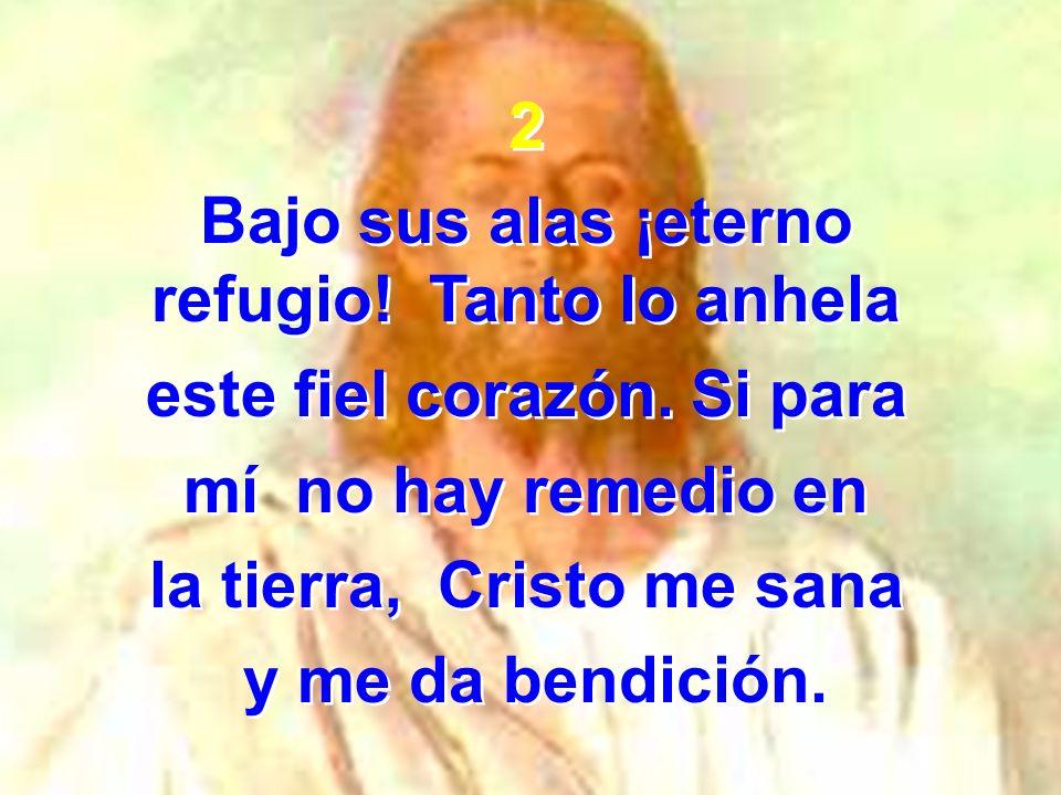 2 Bajo sus alas ¡eterno refugio! Tanto lo anhela este fiel corazón. Si para mí no hay remedio en la tierra, Cristo me sana y me da bendición. 2 Bajo s