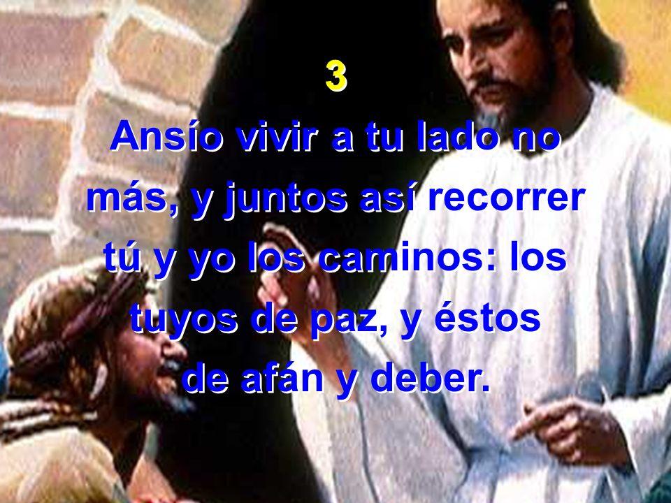 3 Ansío vivir a tu lado no más, y juntos así recorrer tú y yo los caminos: los tuyos de paz, y éstos de afán y deber. 3 Ansío vivir a tu lado no más,