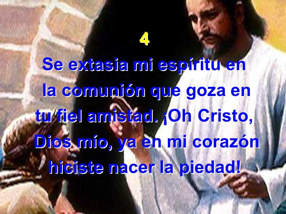 4 Se extasia mi espíritu en la comunión que goza en tu fiel amistad. ¡Oh Cristo, Dios mío, ya en mi corazón hiciste nacer la piedad! 4 Se extasia mi e