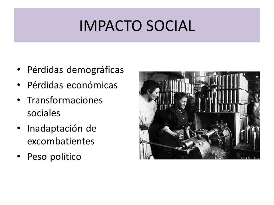 IMPACTO SOCIAL Pérdidas demográficas Pérdidas económicas Transformaciones sociales Inadaptación de excombatientes Peso político