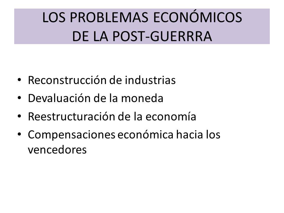 LOS PROBLEMAS ECONÓMICOS DE LA POST-GUERRRA Reconstrucción de industrias Devaluación de la moneda Reestructuración de la economía Compensaciones econó