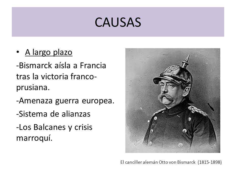 CAUSAS A largo plazo -Bismarck aísla a Francia tras la victoria franco- prusiana. -Amenaza guerra europea. -Sistema de alianzas -Los Balcanes y crisis