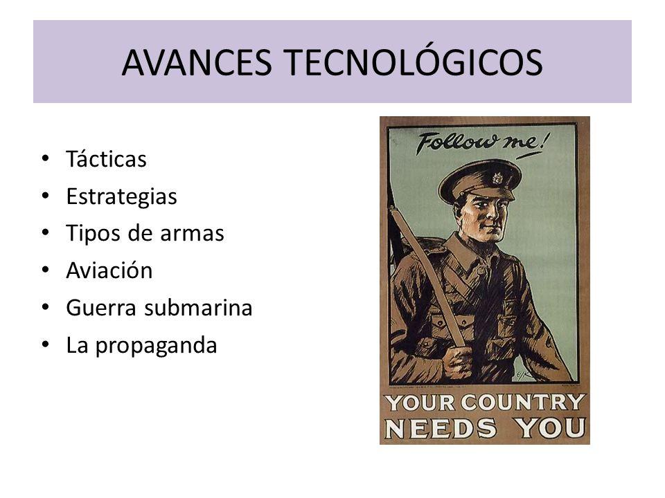 AVANCES TECNOLÓGICOS Tácticas Estrategias Tipos de armas Aviación Guerra submarina La propaganda