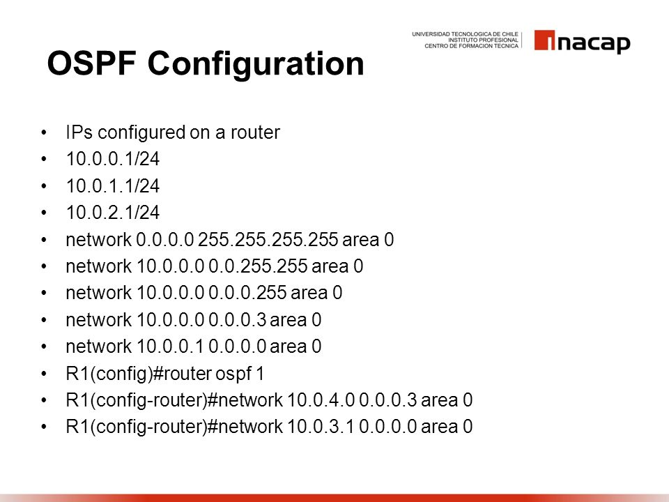 OSPF Configuration IPs configured on a router 10.0.0.1/24 10.0.1.1/24 10.0.2.1/24 network 0.0.0.0 255.255.255.255 area 0 network 10.0.0.0 0.0.255.255