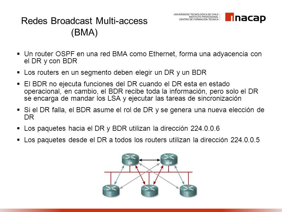 Redes Broadcast Multi-access (BMA) Un router OSPF en una red BMA como Ethernet, forma una adyacencia con el DR y con BDR Los routers en un segmento de