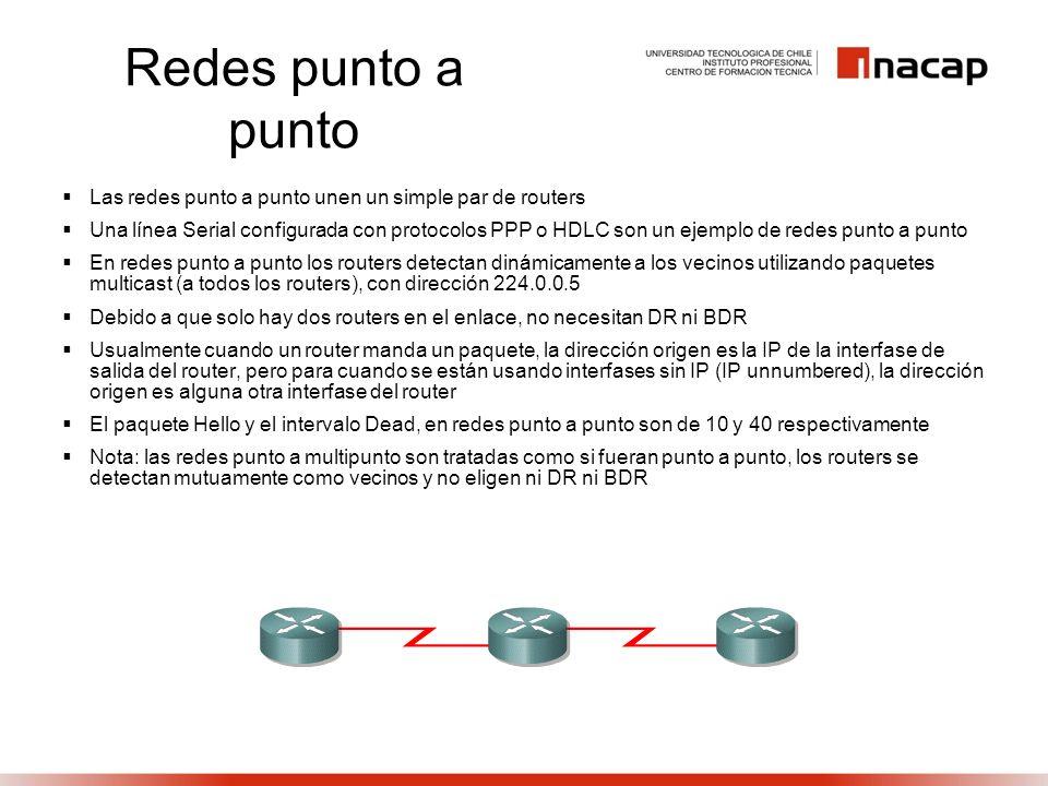 Redes punto a punto Las redes punto a punto unen un simple par de routers Una línea Serial configurada con protocolos PPP o HDLC son un ejemplo de red