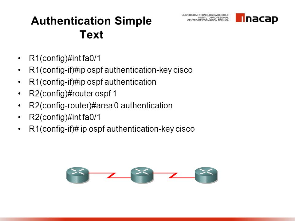 Authentication Simple Text R1(config)#int fa0/1 R1(config-if)#ip ospf authentication-key cisco R1(config-if)#ip ospf authentication R2(config)#router