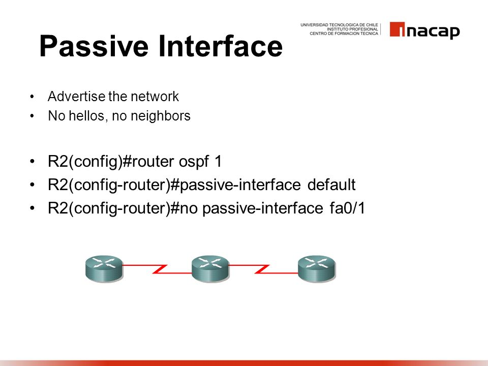 Passive Interface Advertise the network No hellos, no neighbors R2(config)#router ospf 1 R2(config-router)#passive-interface default R2(config-router)