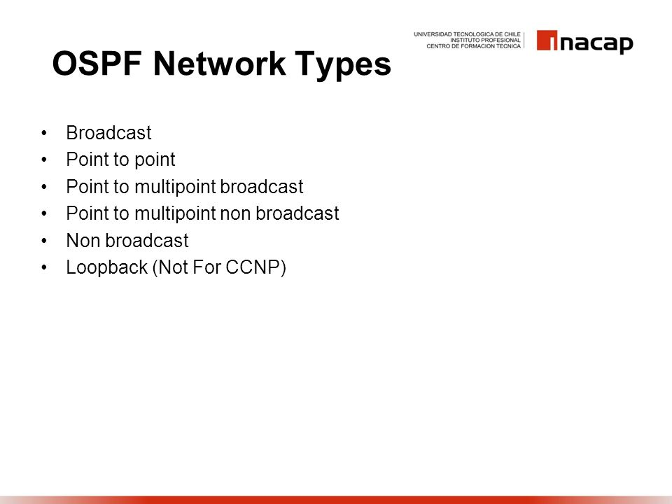 OSPF Network Types Broadcast Point to point Point to multipoint broadcast Point to multipoint non broadcast Non broadcast Loopback (Not For CCNP)