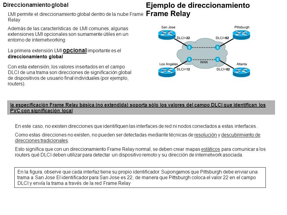 Direccionamiento global LMI permite el direccionamiento global dentro de la nube Frame Relay Además de las características de LMI comunes, algunas ext