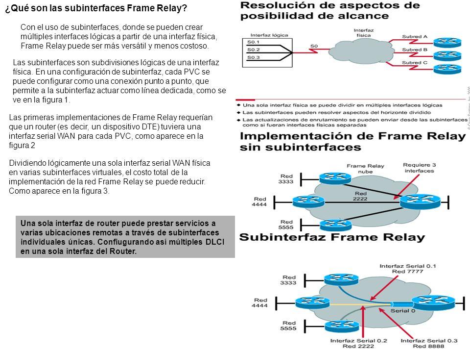 ¿Qué son las subinterfaces Frame Relay? Con el uso de subinterfaces, donde se pueden crear múltiples interfaces lógicas a partir de una interfaz físic