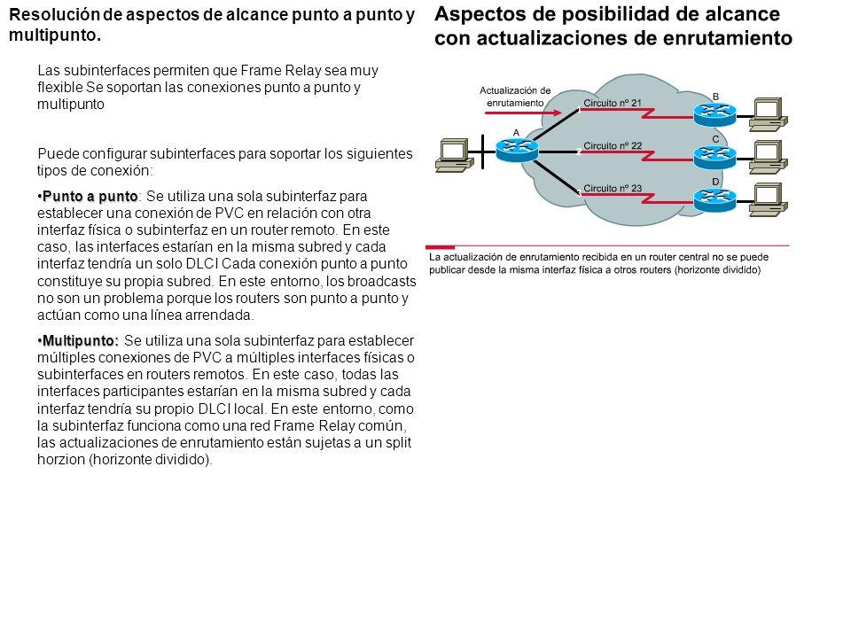 Resolución de aspectos de alcance punto a punto y multipunto. Las subinterfaces permiten que Frame Relay sea muy flexible Se soportan las conexiones p
