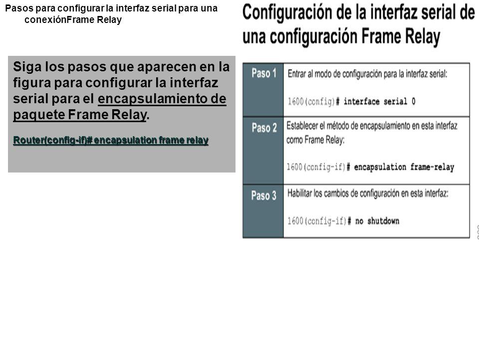 Pasos para configurar la interfaz serial para una conexiónFrame Relay Siga los pasos que aparecen en la figura para configurar la interfaz serial para