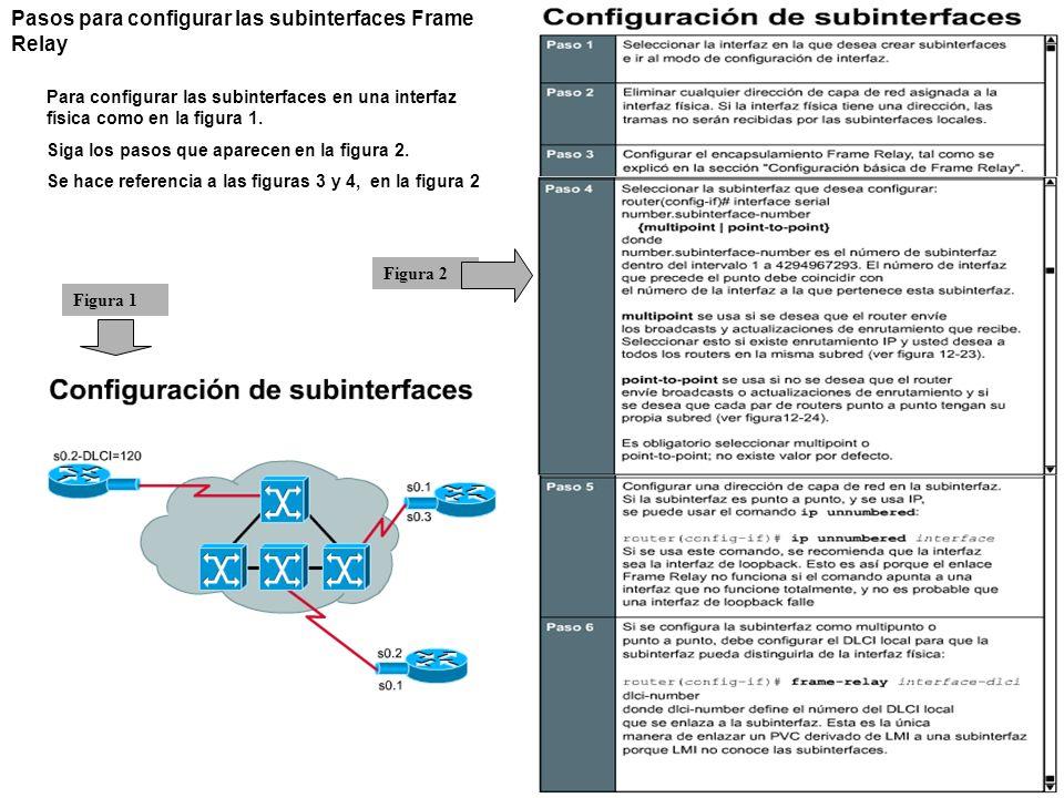 Pasos para configurar las subinterfaces Frame Relay Para configurar las subinterfaces en una interfaz física como en la figura 1. Siga los pasos que a