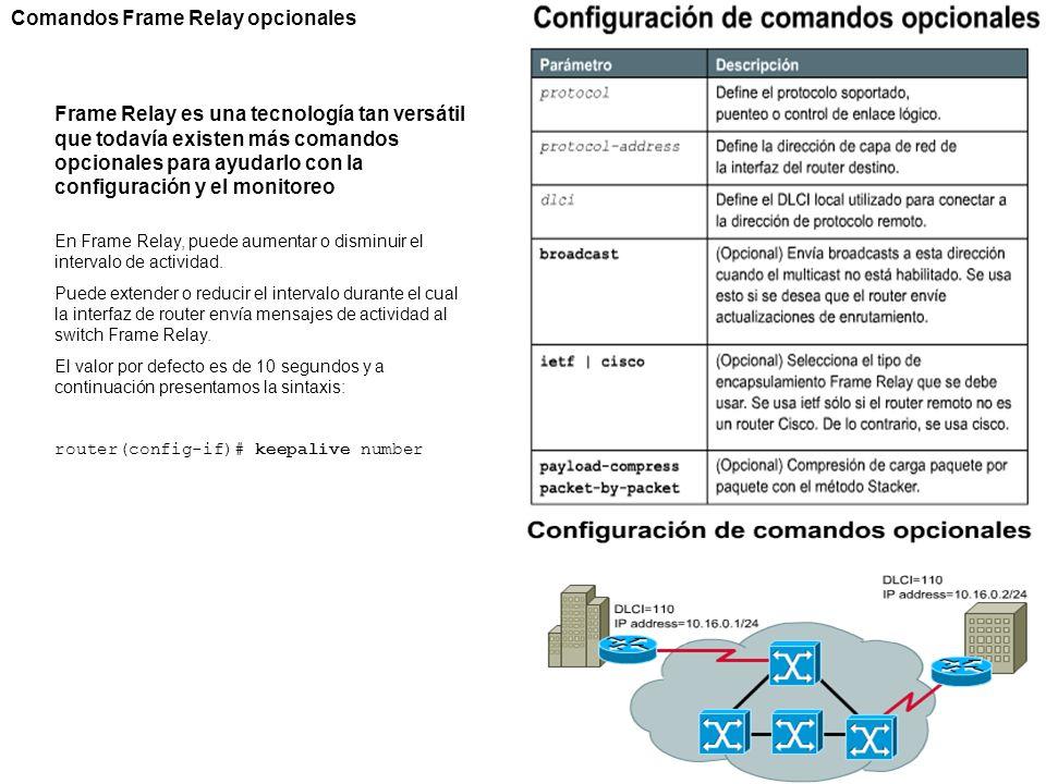 Comandos Frame Relay opcionales Frame Relay es una tecnología tan versátil que todavía existen más comandos opcionales para ayudarlo con la configurac