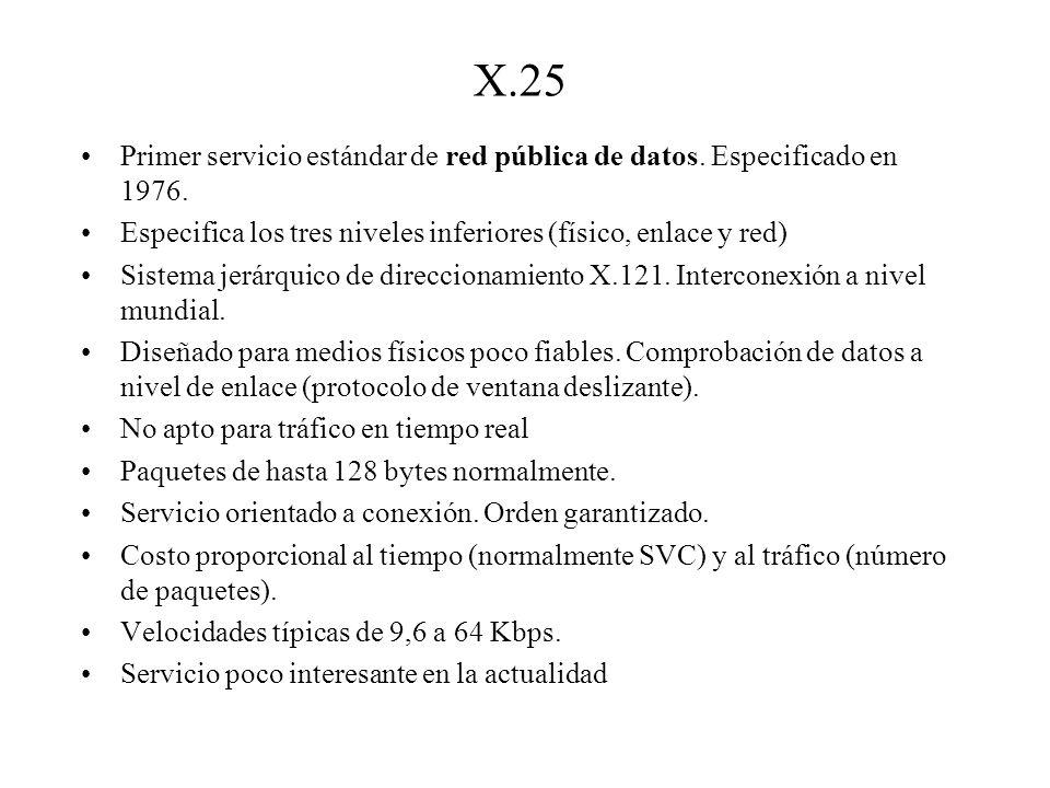 X.25 Primer servicio estándar de red pública de datos. Especificado en 1976. Especifica los tres niveles inferiores (físico, enlace y red) Sistema jer
