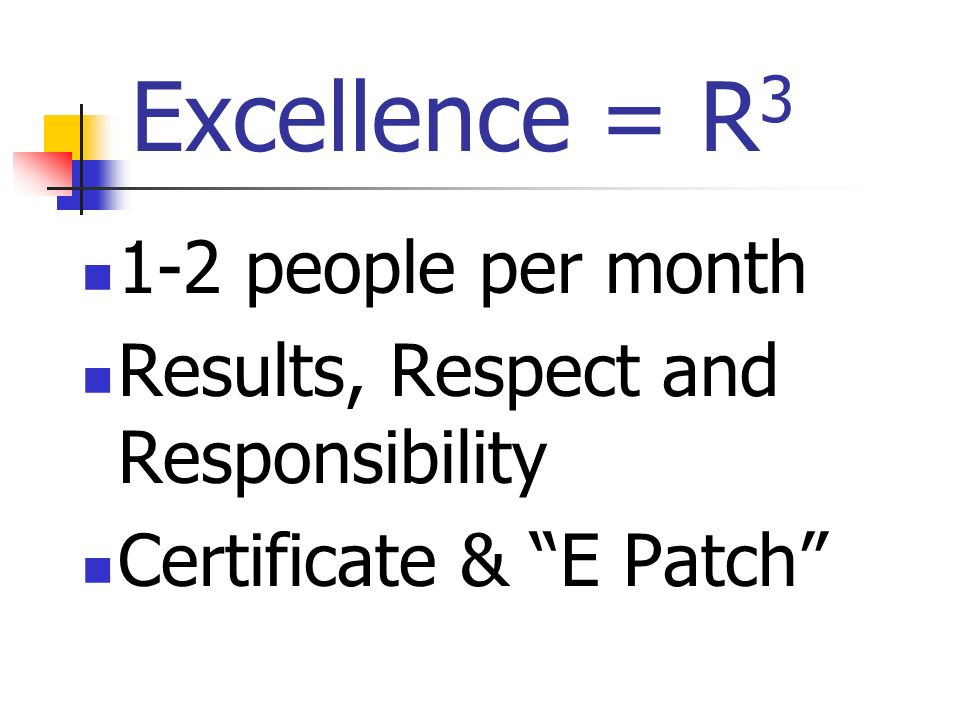 Excellence = R 3 1-2 people per month Results, Respect and Responsibility Certificate & E Patch