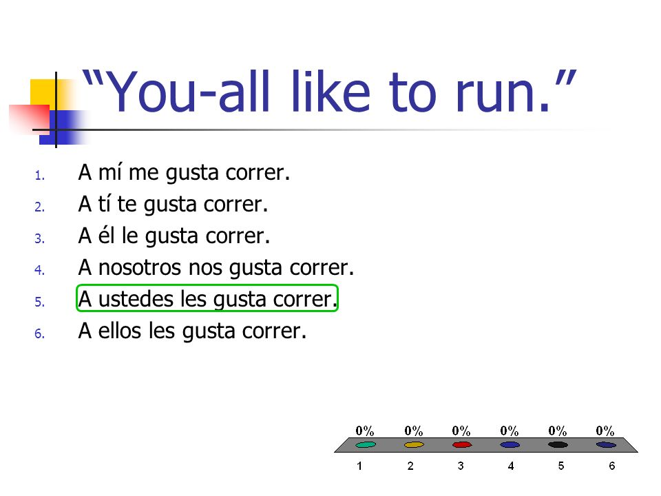 You-all like to run. 1. A mí me gusta correr. 2.