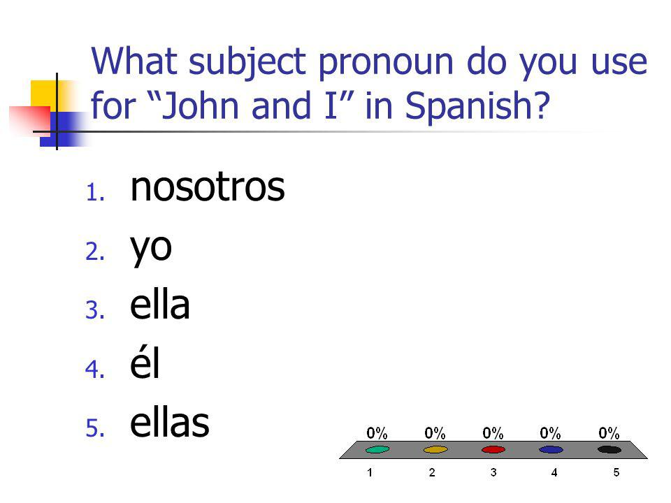 What subject pronoun do you use for John and I in Spanish 1. nosotros 2. yo 3. ella 4. él 5. ellas