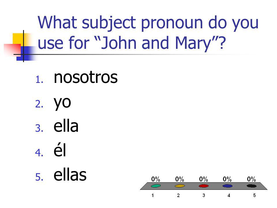 What subject pronoun do you use for John and Mary 1. nosotros 2. yo 3. ella 4. él 5. ellas