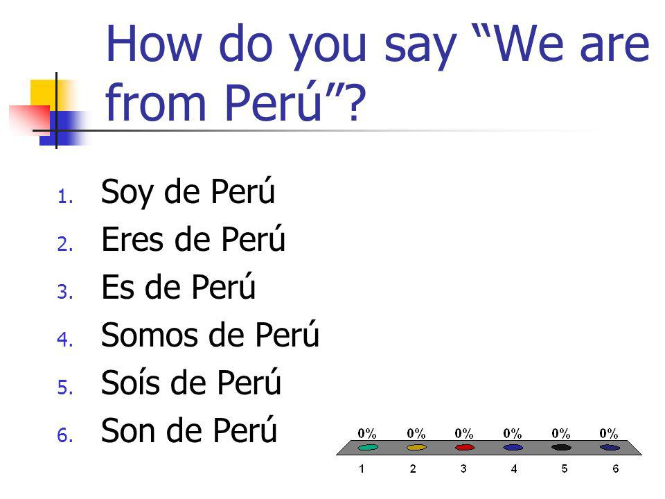 How do you say We are from Perú? 1. Soy de Perú 2. Eres de Perú 3. Es de Perú 4. Somos de Perú 5. Soís de Perú 6. Son de Perú