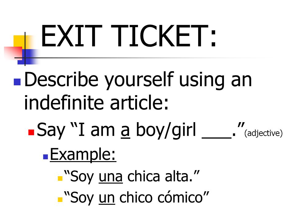 EXIT TICKET: Describe yourself using an indefinite article: Say I am a boy/girl ___.