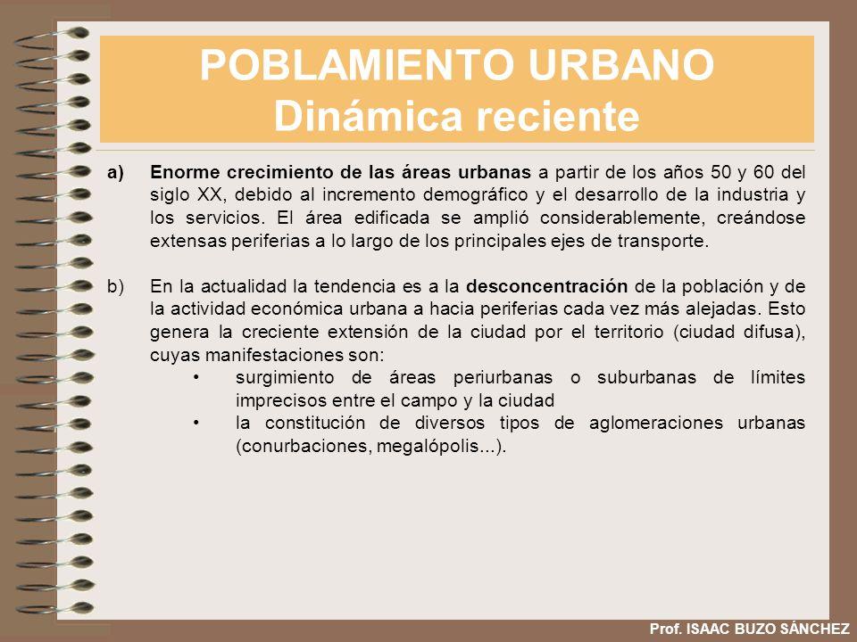 POBLAMIENTO URBANO Dinámica reciente Prof. ISAAC BUZO SÁNCHEZ a)Enorme crecimiento de las áreas urbanas a partir de los años 50 y 60 del siglo XX, deb