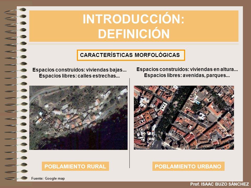 INTRODUCCIÓN: DEFINICIÓN Prof. ISAAC BUZO SÁNCHEZ CARACTERÍSTICAS MORFOLÓGICAS Espacios construidos: viviendas bajas... Espacios libres: calles estrec