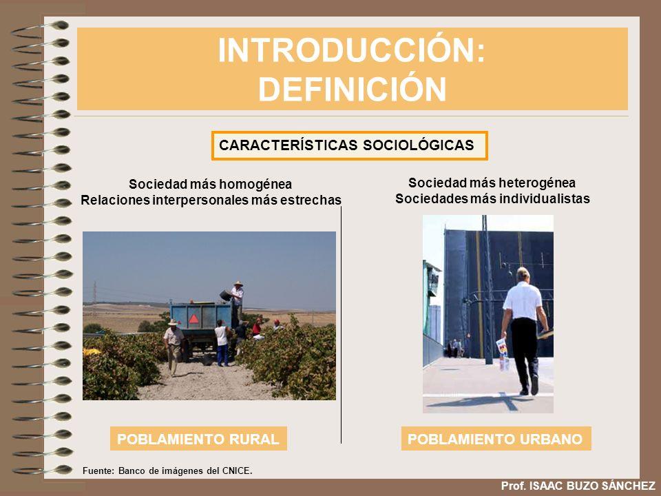 INTRODUCCIÓN: DEFINICIÓN Prof. ISAAC BUZO SÁNCHEZ CARACTERÍSTICAS SOCIOLÓGICAS Sociedad más homogénea Relaciones interpersonales más estrechas POBLAMI