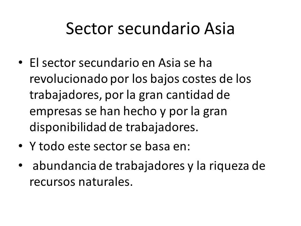Sector secundario Asia El sector secundario en Asia se ha revolucionado por los bajos costes de los trabajadores, por la gran cantidad de empresas se