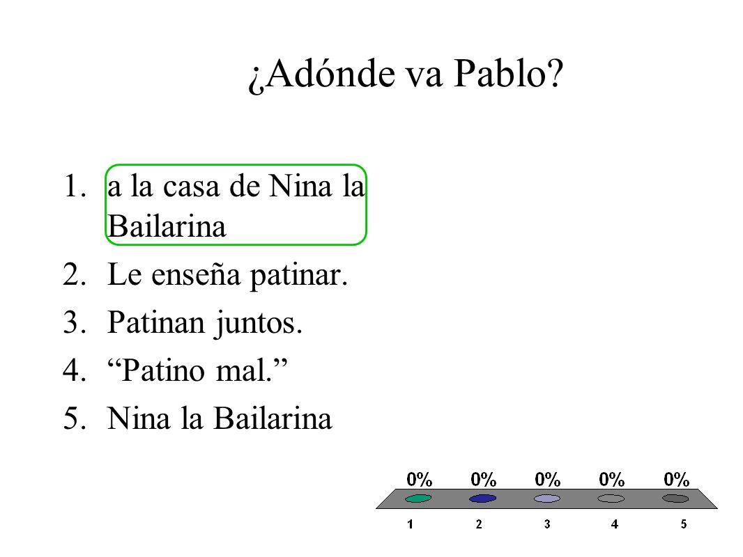 ¿Adónde va Pablo. 1.a la casa de Nina la Bailarina 2.Le enseña patinar.