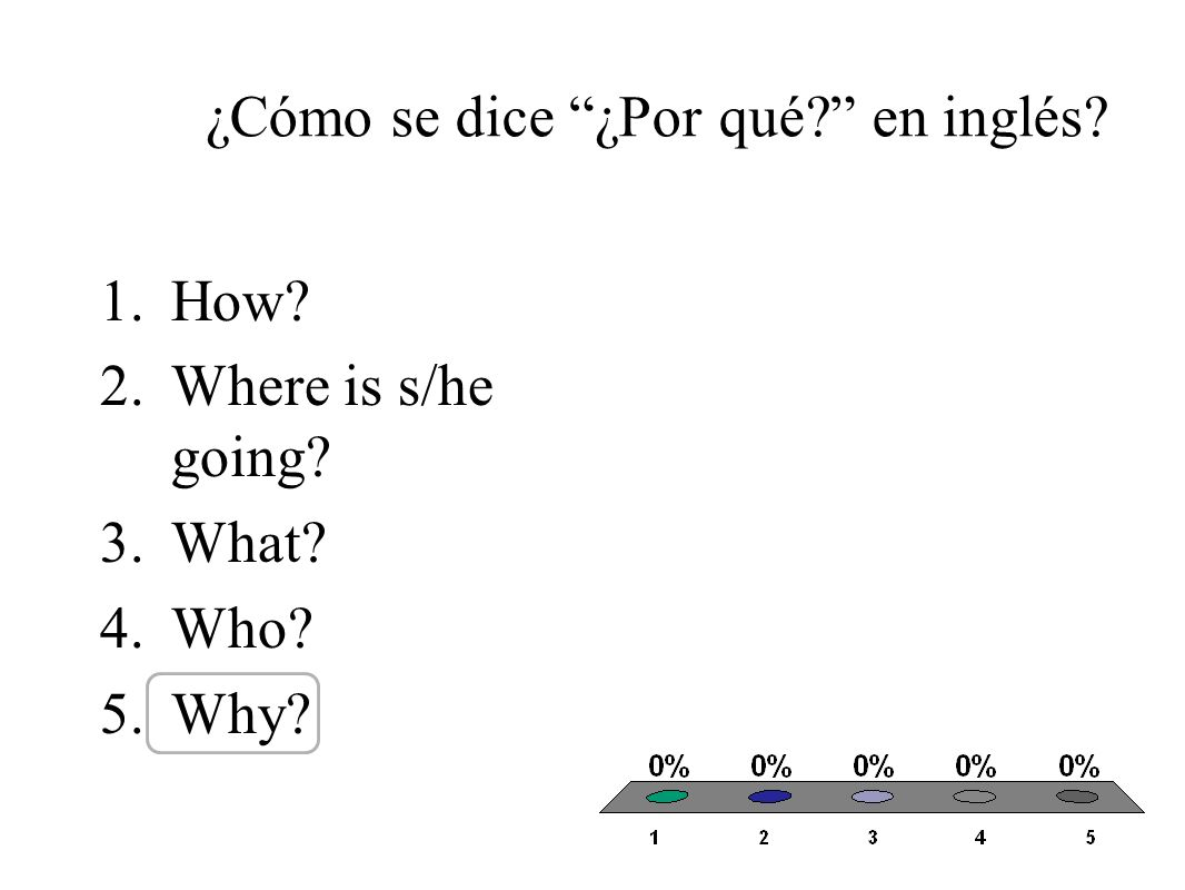 ¿Cómo se dice ¿Por qué en inglés 1.How 2.Where is s/he going 3.What 4.Who 5.Why