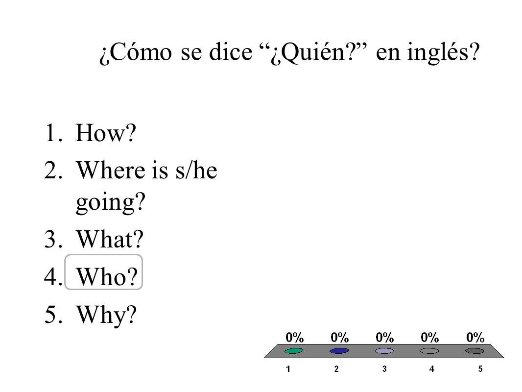 ¿Cómo se dice ¿Quién en inglés 1.How 2.Where is s/he going 3.What 4.Who 5.Why