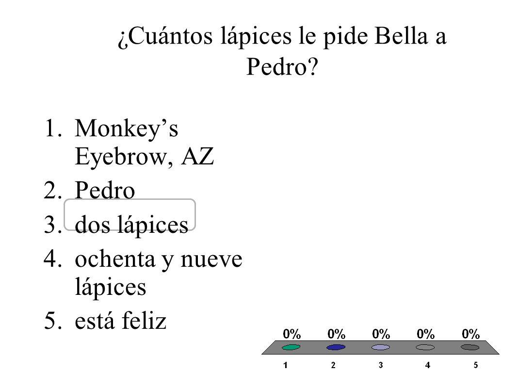 ¿Cuántos lápices le pide Bella a Pedro.