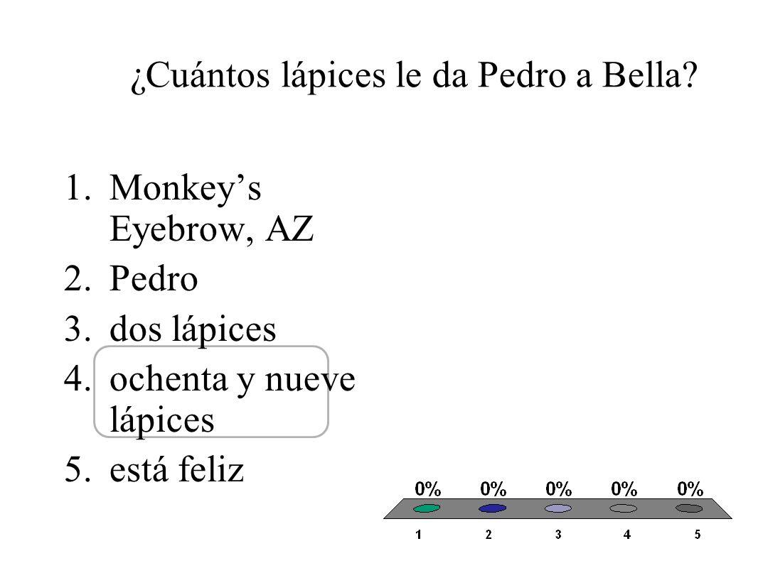 ¿Cuántos lápices le da Pedro a Bella.