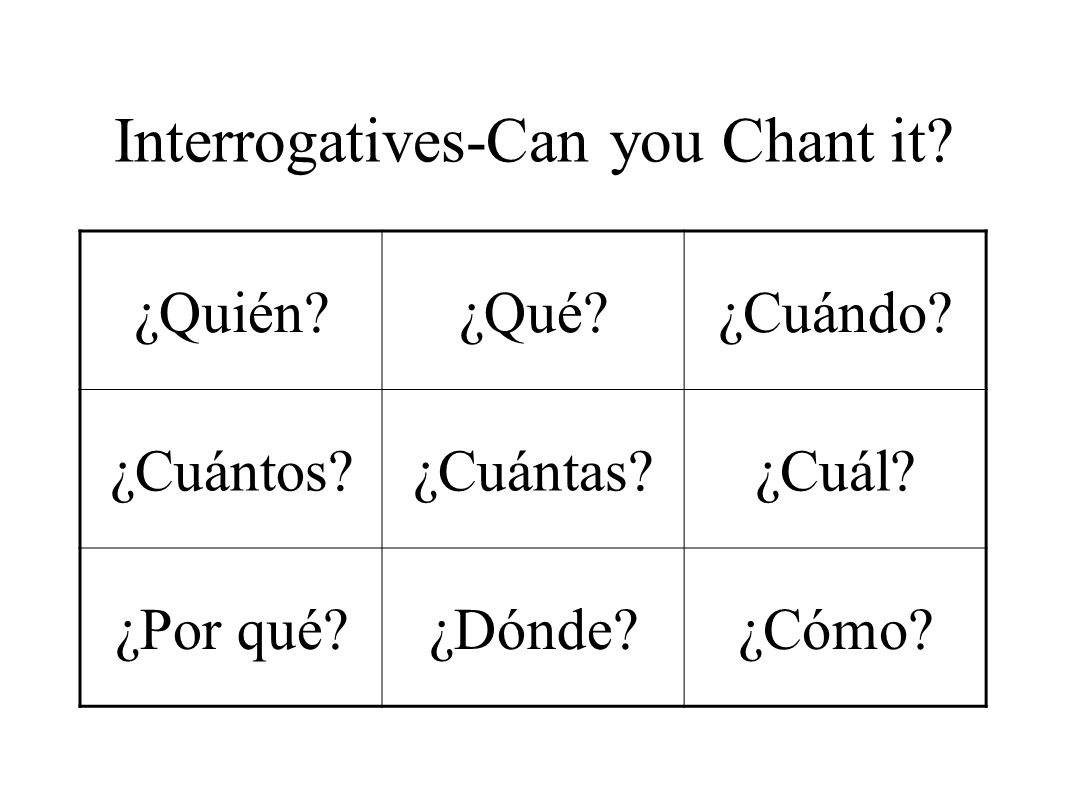 Interrogatives-Can you Chant it. ¿Quién?¿Qué?¿Cuándo.